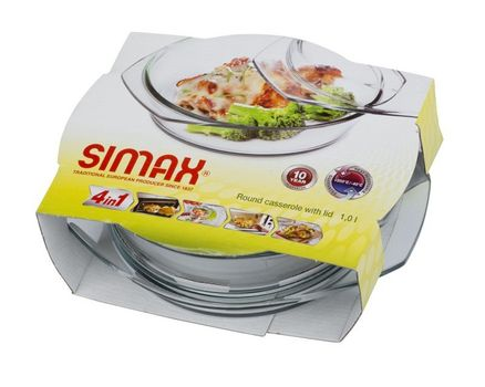 Casserole dish round with lid - 1.0l 003