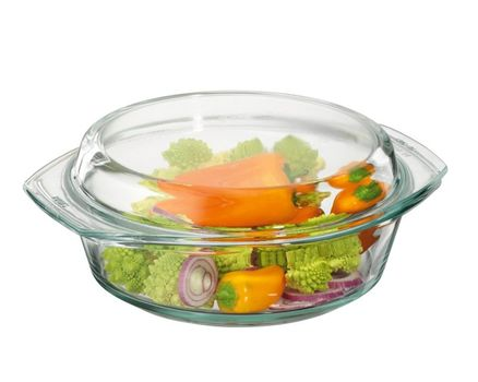 Casserole dish round with lid - 1.5l 002