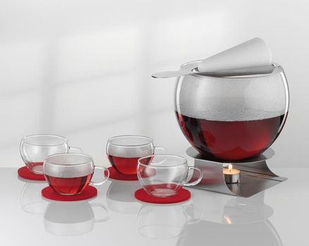 11-pcs. flaming redwine punch set