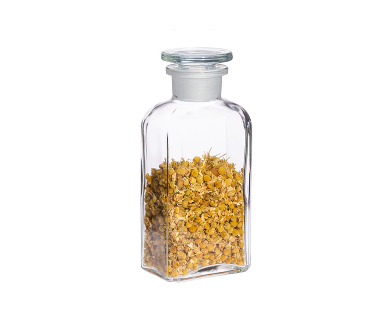 2 pieces Apothecary bottle 0.25l - square, clear