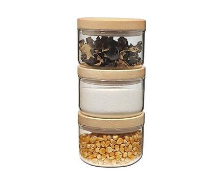 2 pieces small storage jar 0.2l - beech 005