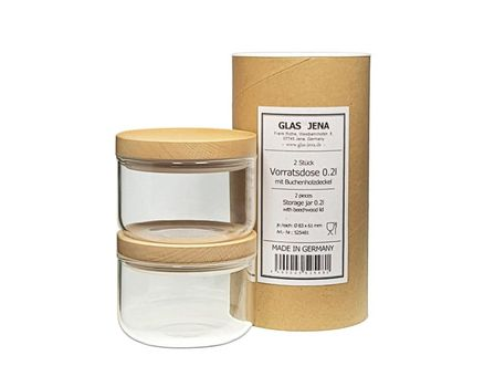 Small storage jar 0.2l - beech (2 pieces)