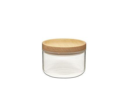 2 pieces small storage jar 0.2l - beech 002